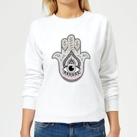 Hamsa Hand Women's Sweatshirt - White - XS - White from Barlena