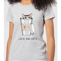Latte Mac-Cat-O Women's T-Shirt - Grey - XXL - Grey from Barlena