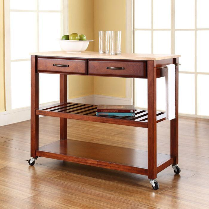 Bayden Hill KF30051CH Natural Wood Top Kitchen Cart/Island With Optional Stool Storage in Classic Cherry Finish from Bayden Hill