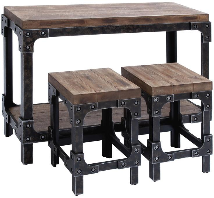 "Bayden Hill Wood Table Stool S/3 44""W, 32""H from Bayden Hill"