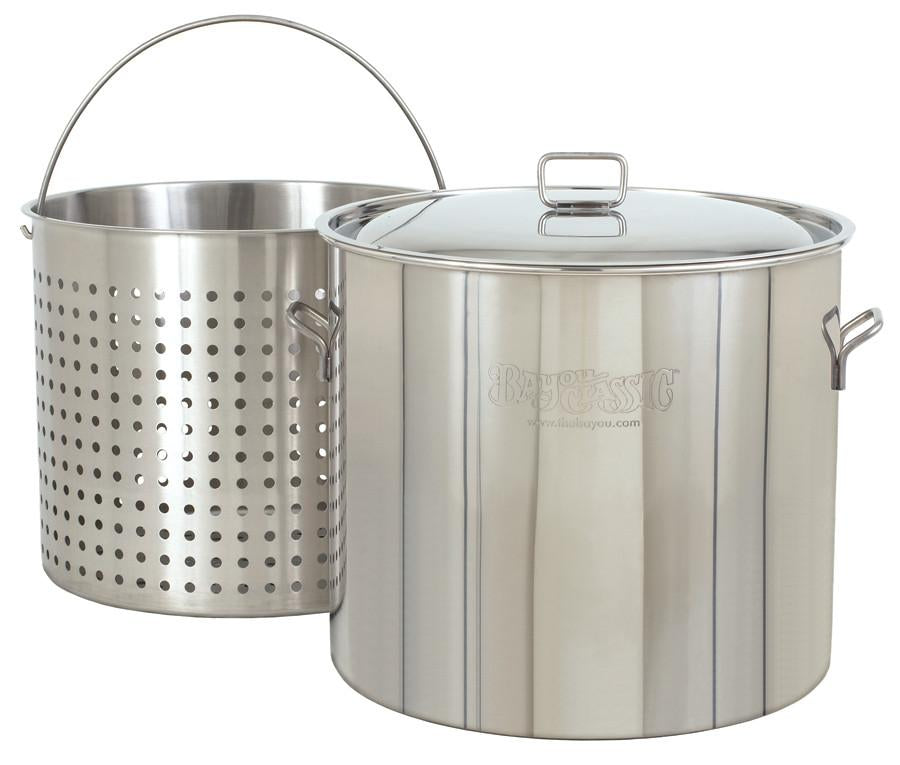 Bayou Classic 82 Quart Stainless Steel Stockpot And Basket Set from Bayou Classic