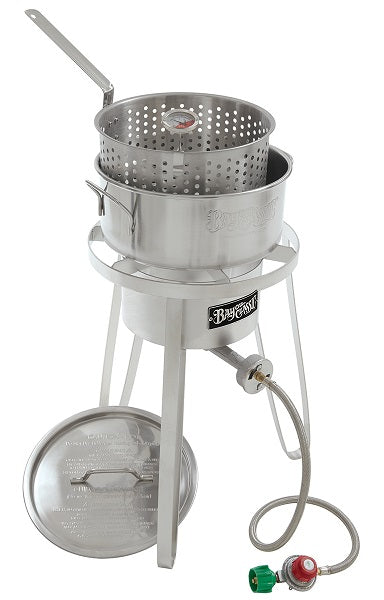 Bayou Classic Stainless Fry Pot, Lid, Cooker, 10 psi, Therm 1135  Cooker from Bayou Classic