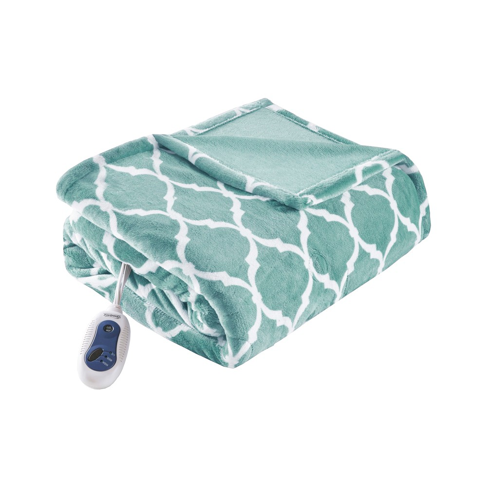 "Electric Ogee Printed Oversized Throw 60x70"" Aqua - Beautyrest from Beautyrest"