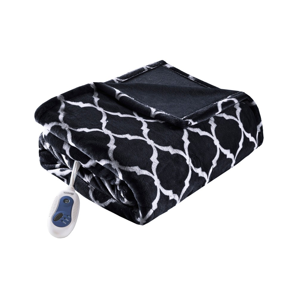 "Electric Ogee Printed Oversized Throw 60x70"" Black - Beautyrest from Beautyrest"