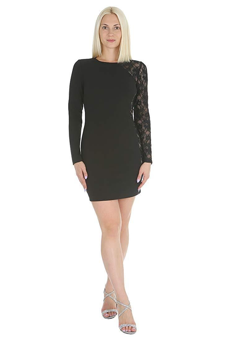 Bebe - 700502A Sheer Lace Paneled Short Sheath Dress from Bebe