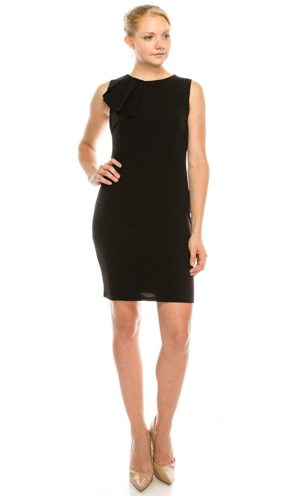 Bebe - 701087B Pleated Ruffle Neck Sleeveless Sheath Mini Dress from Bebe
