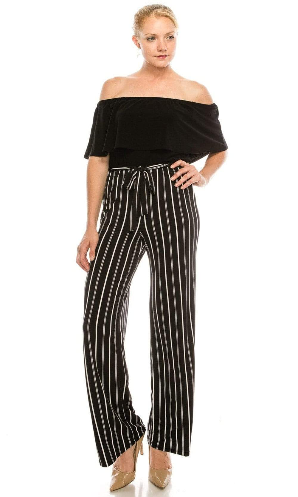 Bebe - 70134E Off-Shoulder Striped Jumpsuit from Bebe