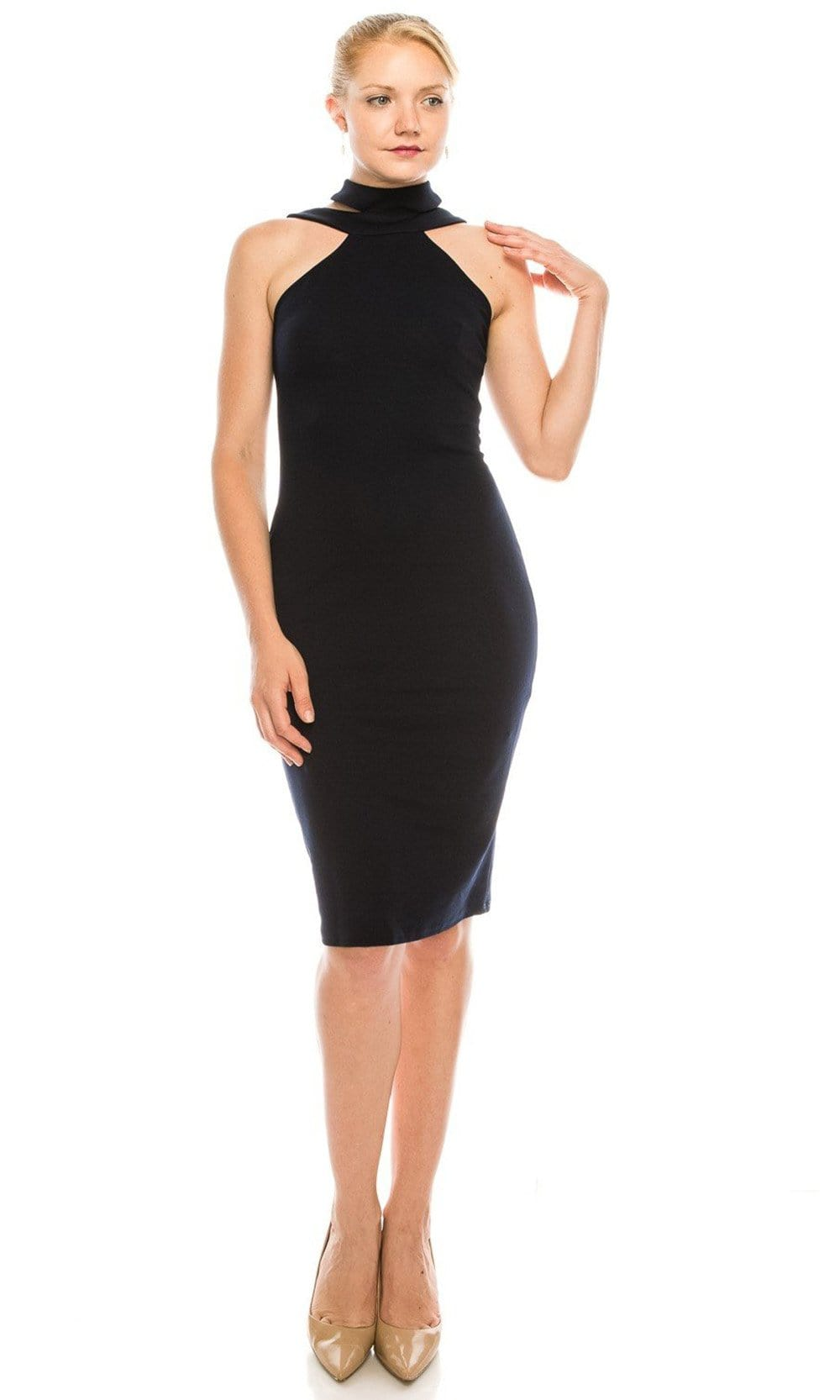 Bebe - 701675 Cutout Mock Neck Sheath Stretch Crepe Dress from Bebe