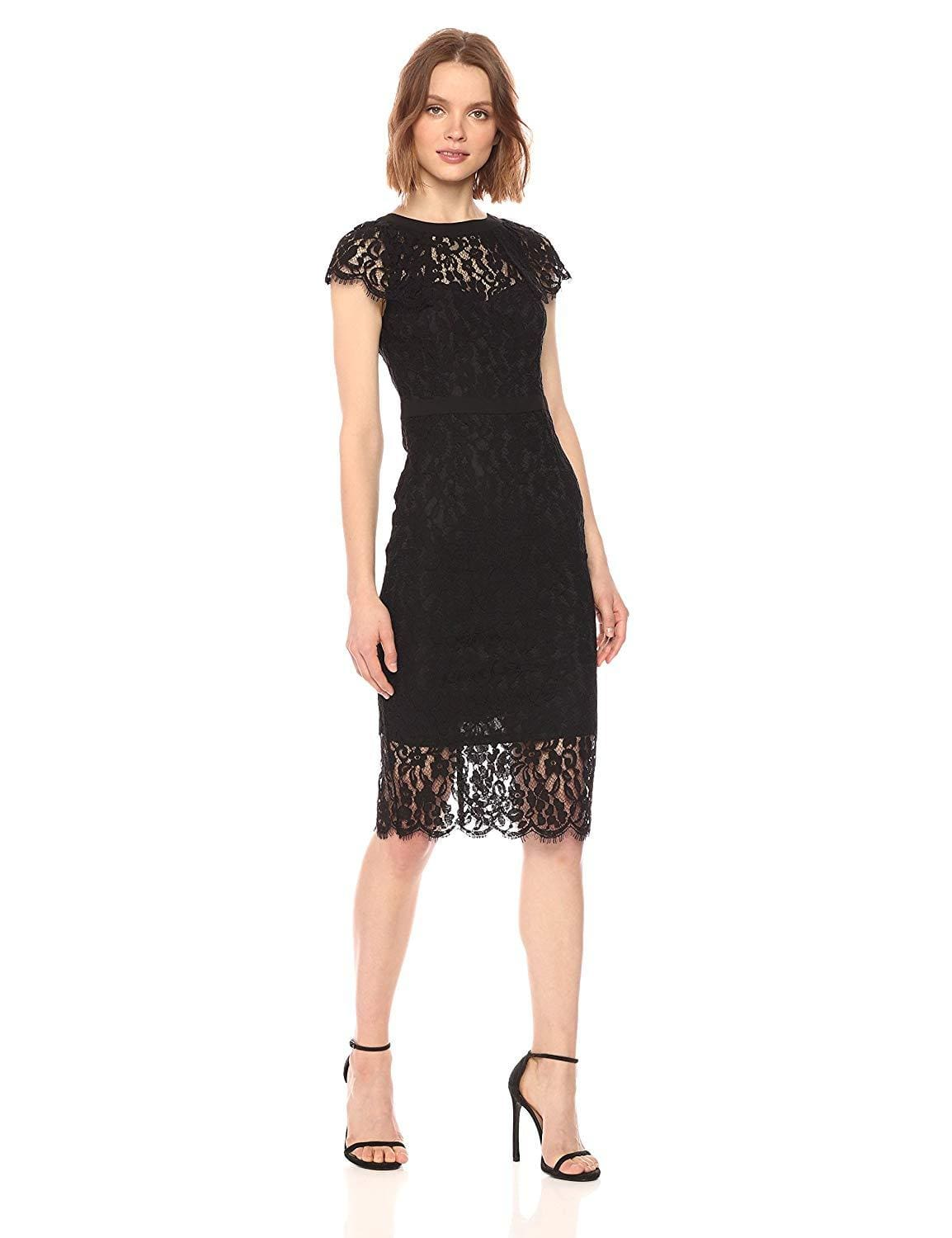 Bebe - 70378A Knee Length Cap Sleeve Sheer Lace Dress from Bebe