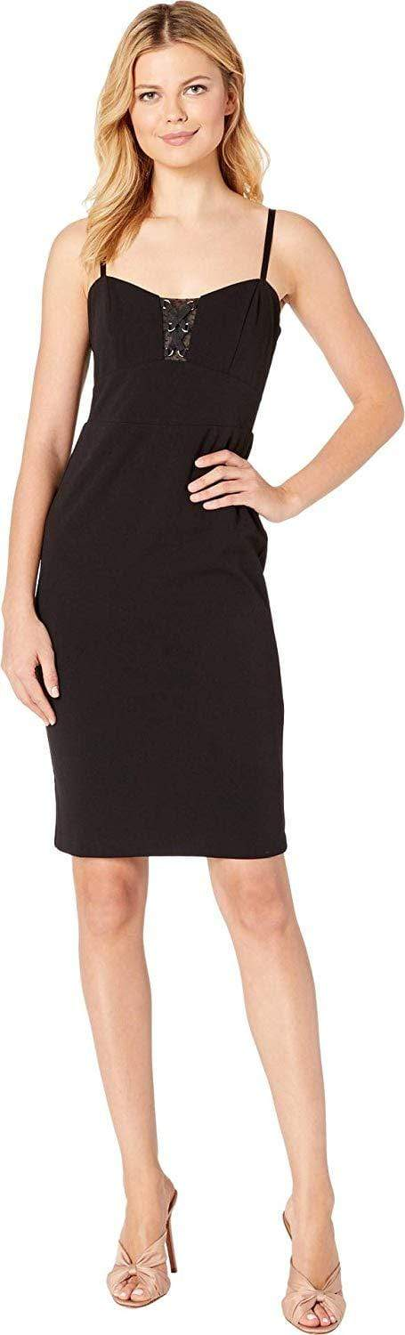Bebe - 70478 Knee Length Sheer Lace Accent Sheath Dress from Bebe