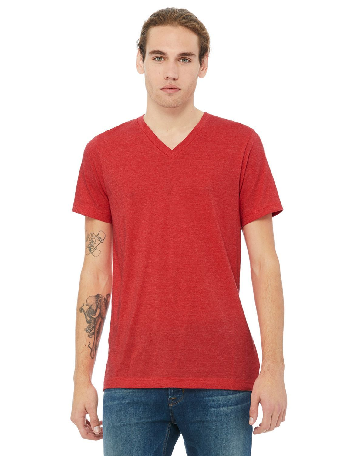 Bella + Canvas 3005 Jersey Short-Sleeve V-Neck Unisex T-Shirt - Heather Red - XS from Bella + Canvas