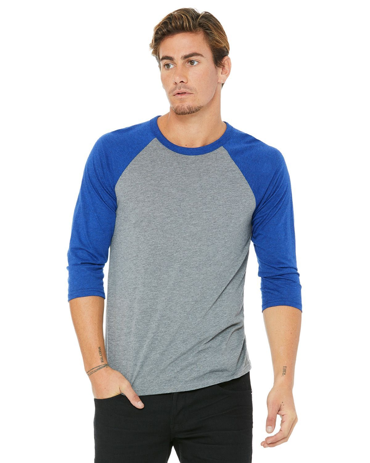 Bella + Canvas 3200 3/4 Sleeve Baseball Unisex T-Shirt - Grey/True Royal Triblend - XS from Bella + Canvas