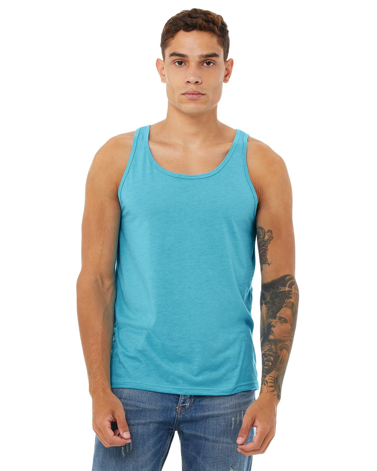 Bella + Canvas 3480 Jersey Unisex Tank - Aqua Triblend - XS from Bella + Canvas