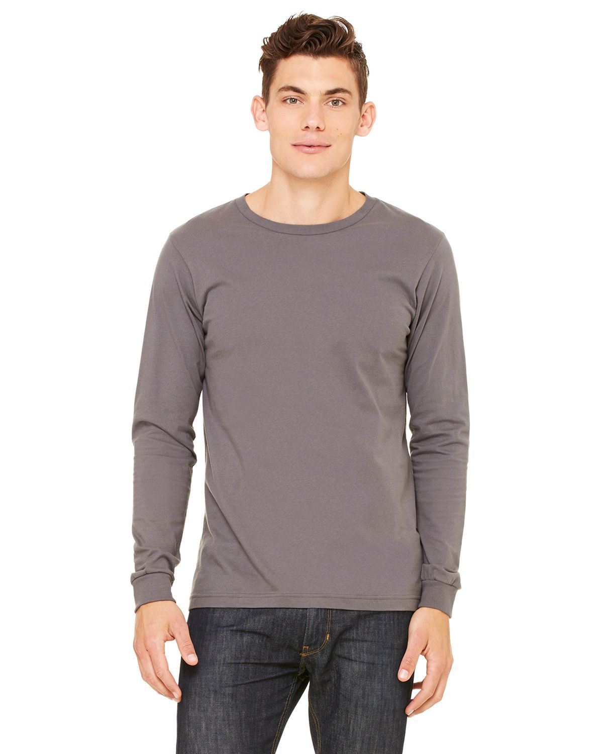 Bella + Canvas 3501 Men's Jersey Long-Sleeve T-Shirt - Asphalt - XS from Bella + Canvas