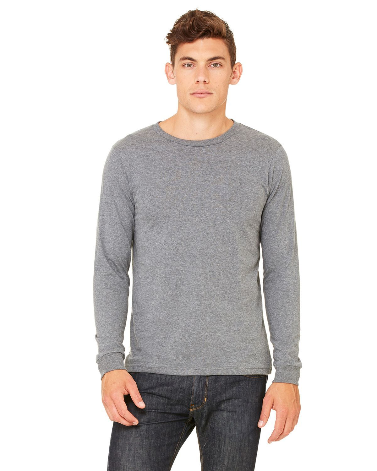 Bella + Canvas 3501 Men's Jersey Long-Sleeve T-Shirt - Deep Heather - XS from Bella + Canvas