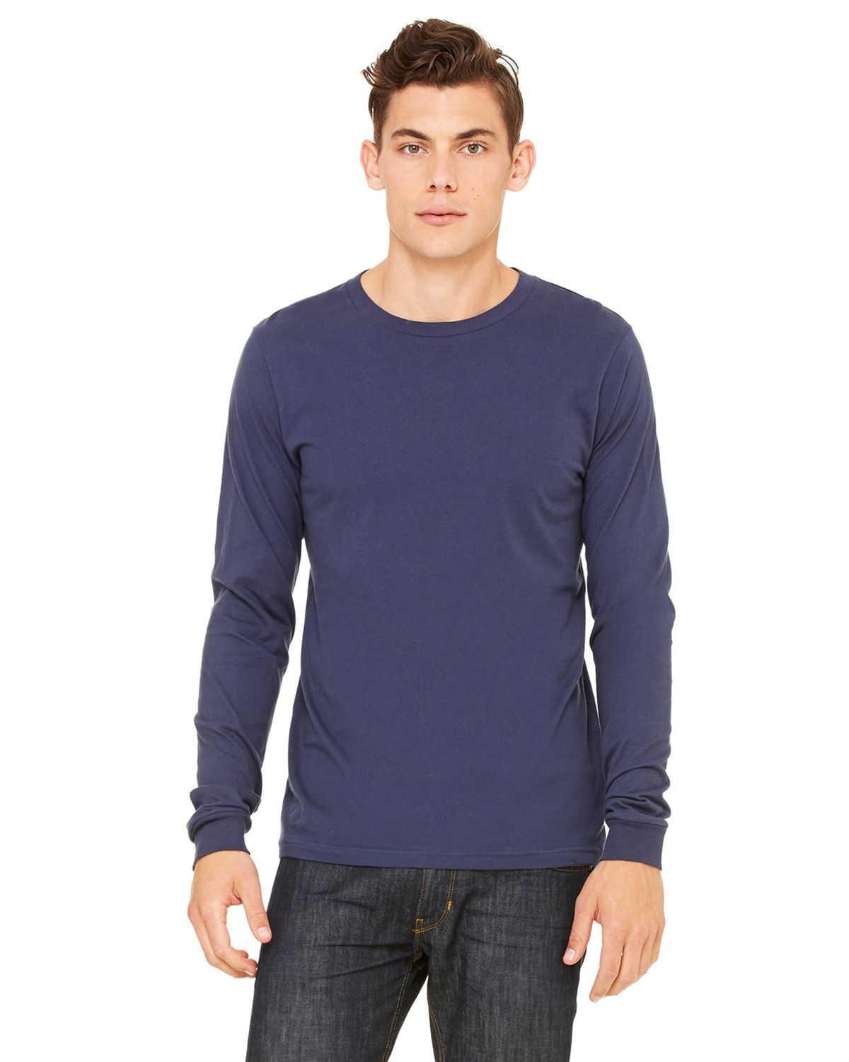 Bella + Canvas 3501 Men's Jersey Long-Sleeve T-Shirt - Navy - XS from Bella + Canvas