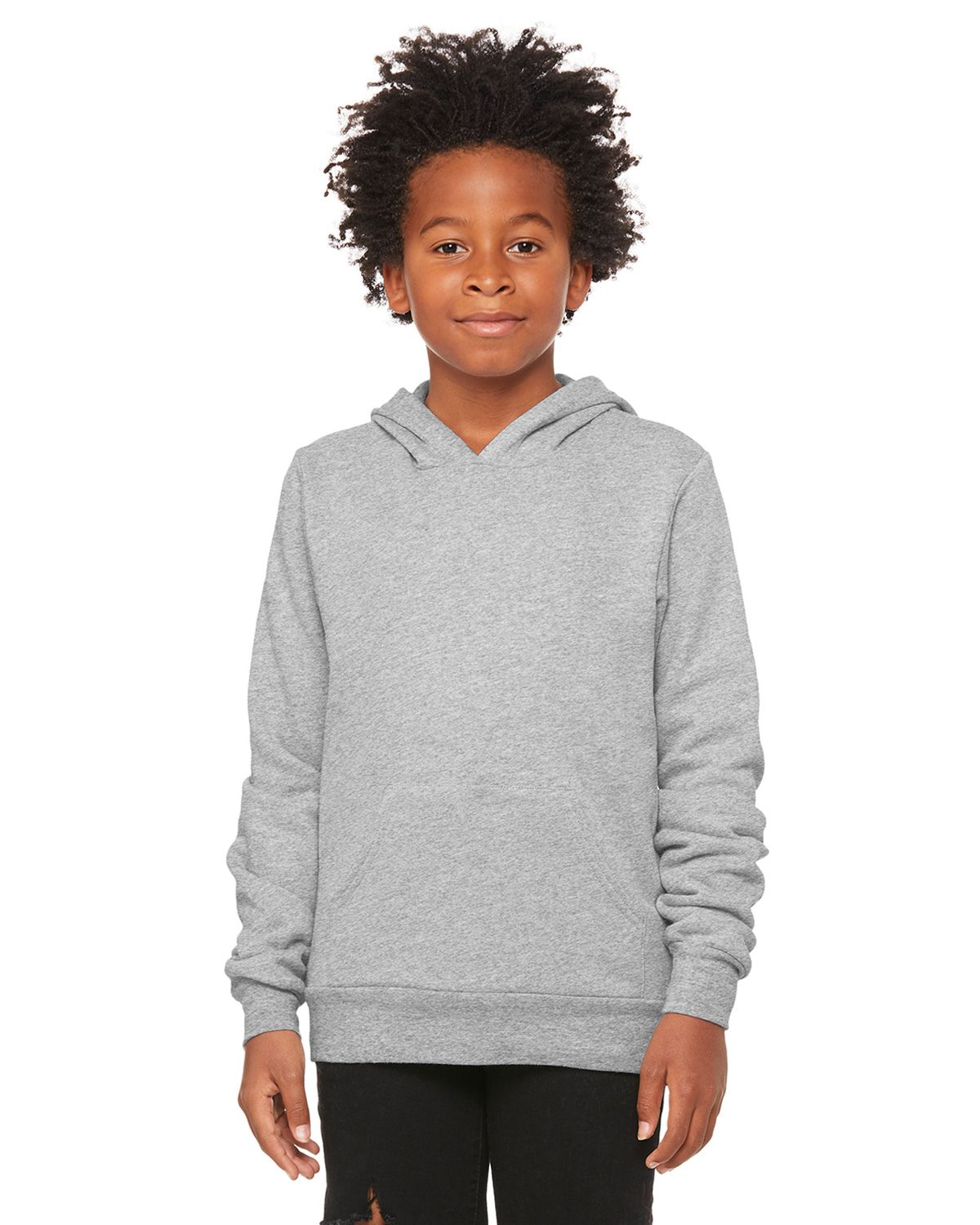 Bella + Canvas 3719Y Youth Sponge Fleece Pullover Hooded Sweatshirt - Athletic Heather - S from Bella + Canvas