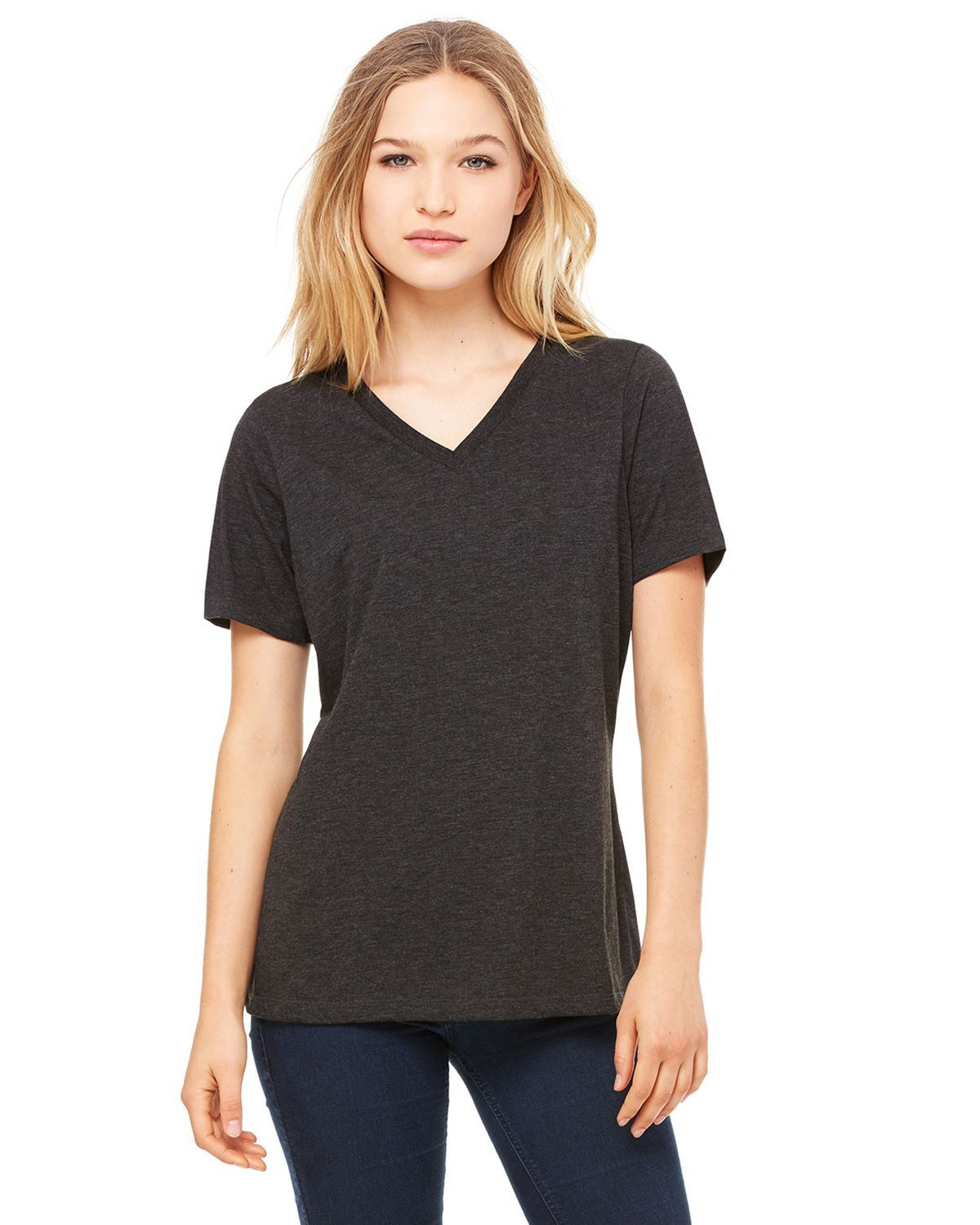 Bella + Canvas 6405 Women's Missys Relaxed Jersey T-Shirt - Charcoal Black Triblend - S from Bella + Canvas