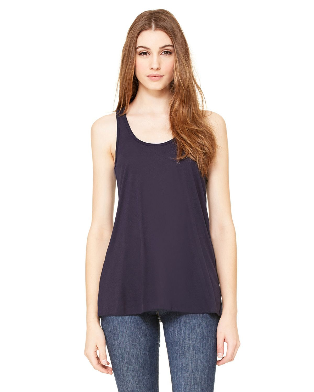 Bella + Canvas 8800 Women's Flowy Racerback Tank - Midnight - XS from Bella + Canvas