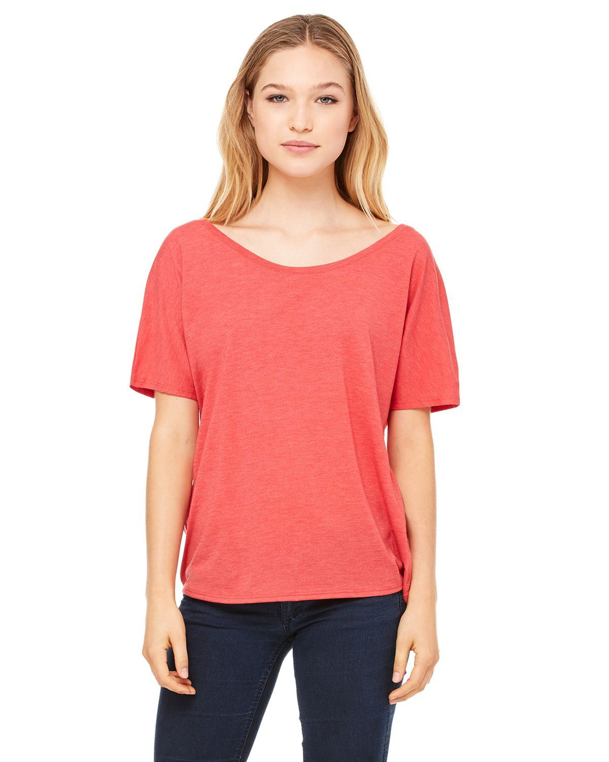 Bella + Canvas 8816 Women's Flowy Simple T-Shirt - Red Triblend - S from Bella + Canvas