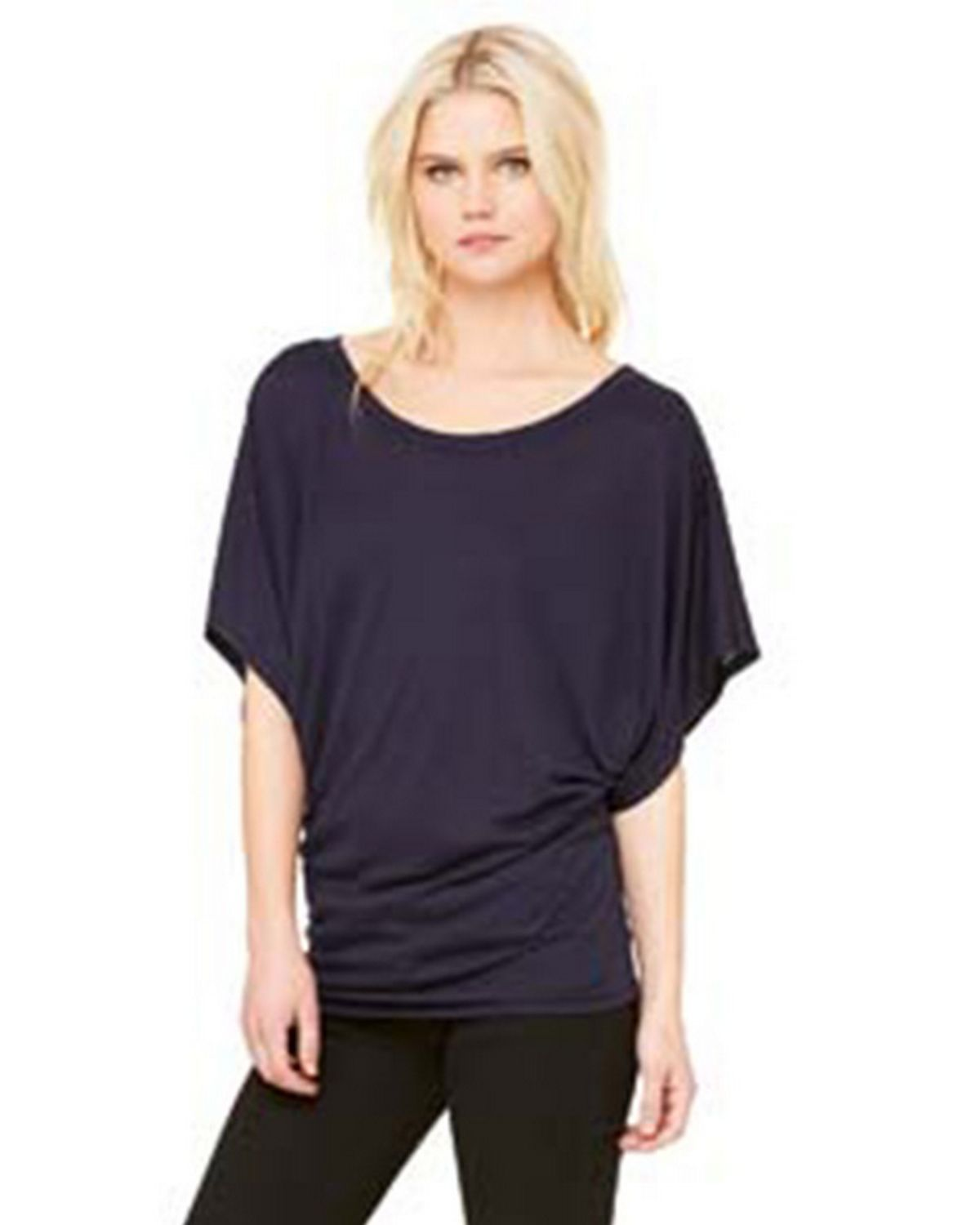 Bella + Canvas 8821 Women's Flowy Draped Sleeve Dolman T-Shirt - Midnight - S from Bella + Canvas