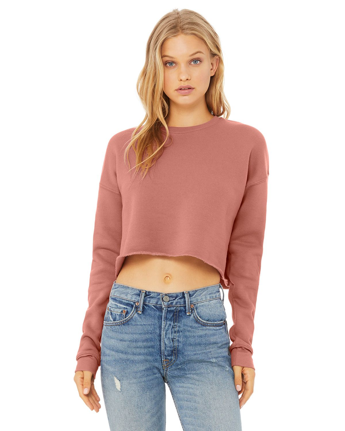 Bella + Canvas B7503 Women's Cropped Crew Fleece - Mauve - S from Bella + Canvas