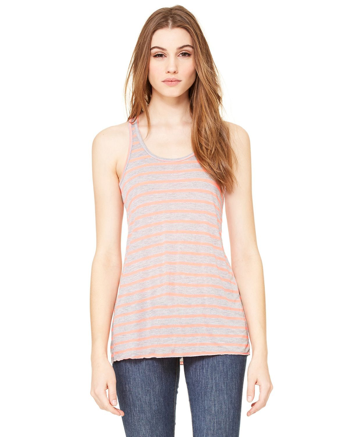 Bella + Canvas B8800 Women's Flowy Racerback Tank - Striped Athletic Heather/Neon Pink - XS from Bella + Canvas