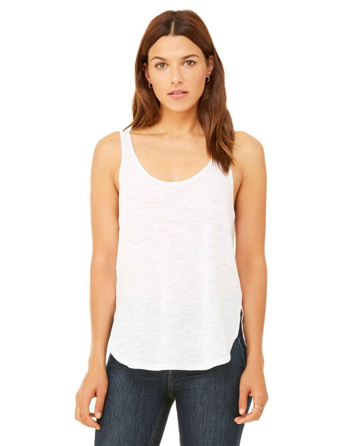 Bella + Canvas B8802 Women's Flowy Side Slit Tank - White Slub - S from Bella + Canvas