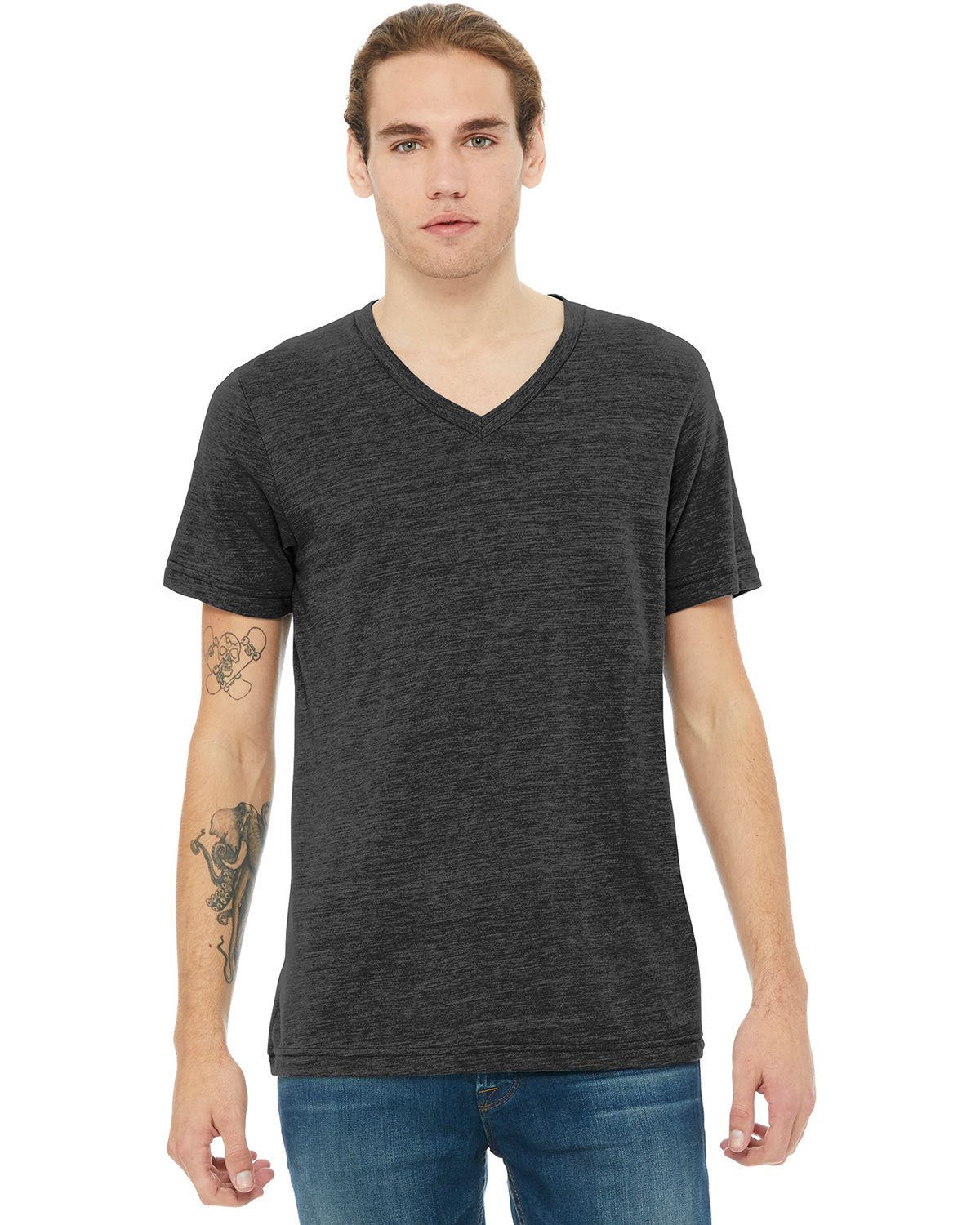 Bella + Canvas BC3005 Short Sleeve V-Neck Tee Jersey Unisex Tee - Charcoal Black Slub - XS from Bella + Canvas