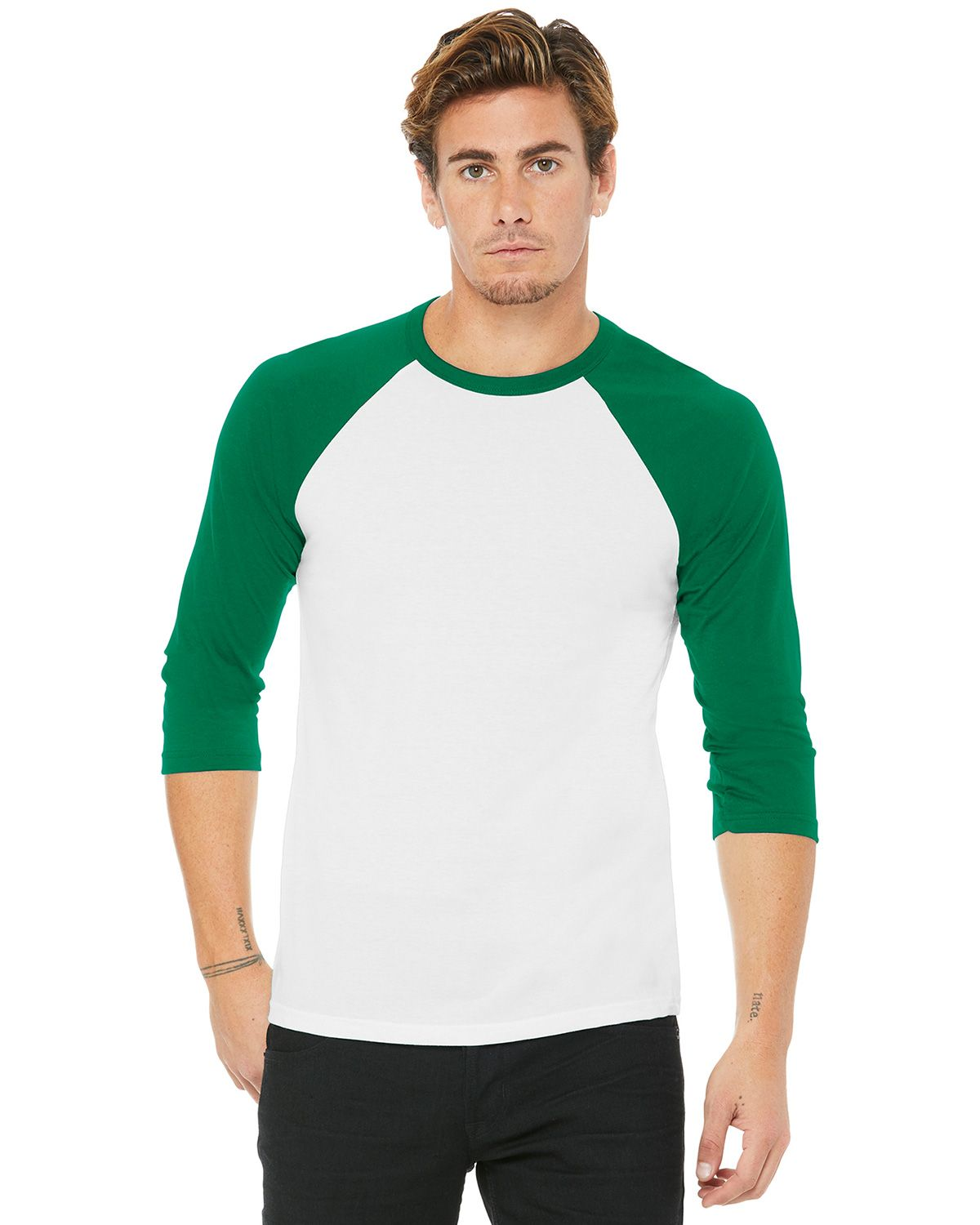 Bella + Canvas BC3200 Unisex 3/4-Sleeve Baseball Tee - White/ Kelly - XS from Bella + Canvas