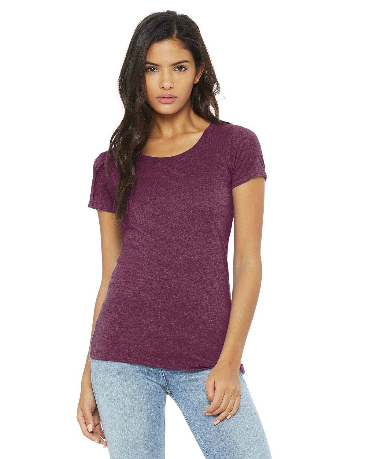 Bella + Canvas BC8413 Women's Triblend Short Sleeve Tee - Maroon Triblend - S from Bella + Canvas