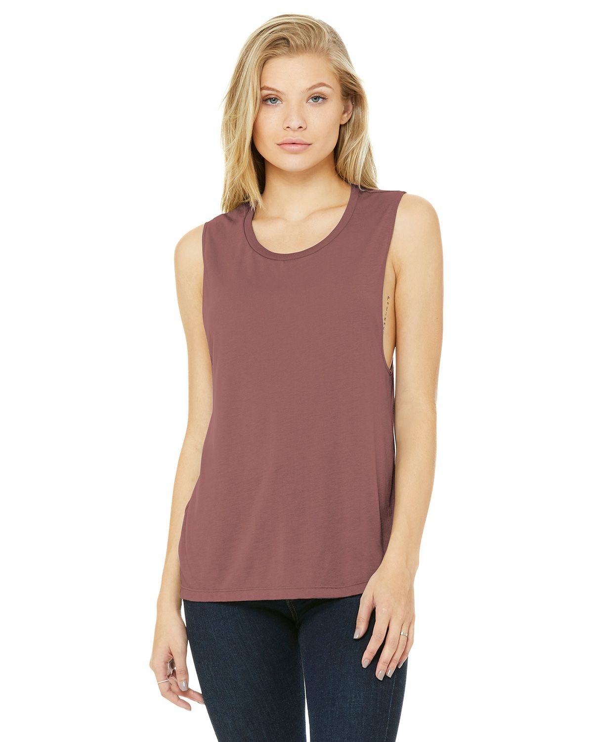 Bella + Canvas BC8803 Women's Flowy Scoop Muscle Tank - Mauve - S from Bella + Canvas