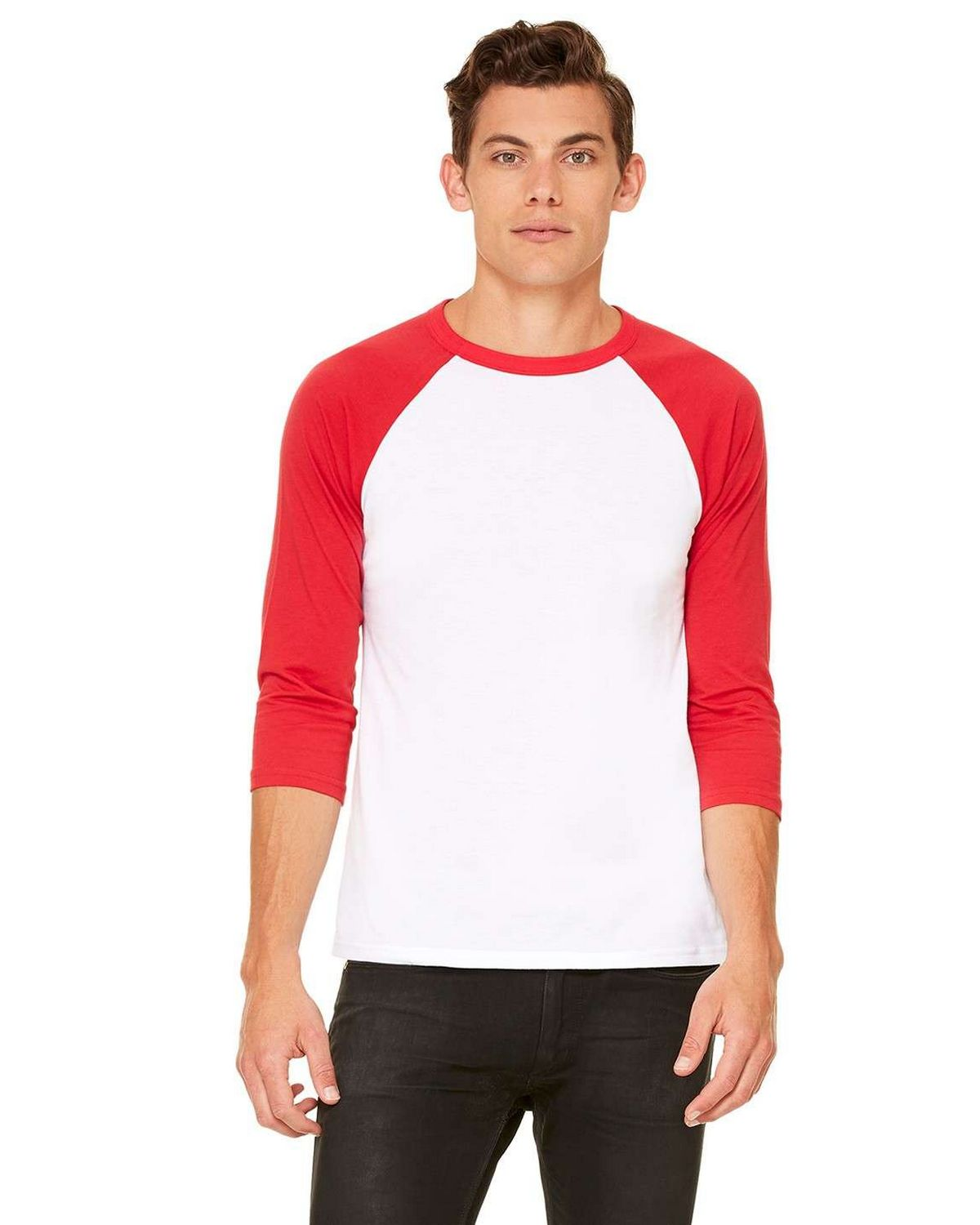 Bella + Canvas C3200 3/4-Sleeve Blended Unisex Baseball Tee - White/Red - S from Bella + Canvas