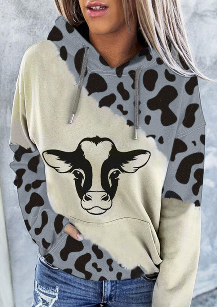 Cattle Leopard Splicing Drawstring Kangaroo Pocket Hoodie from Bellelily