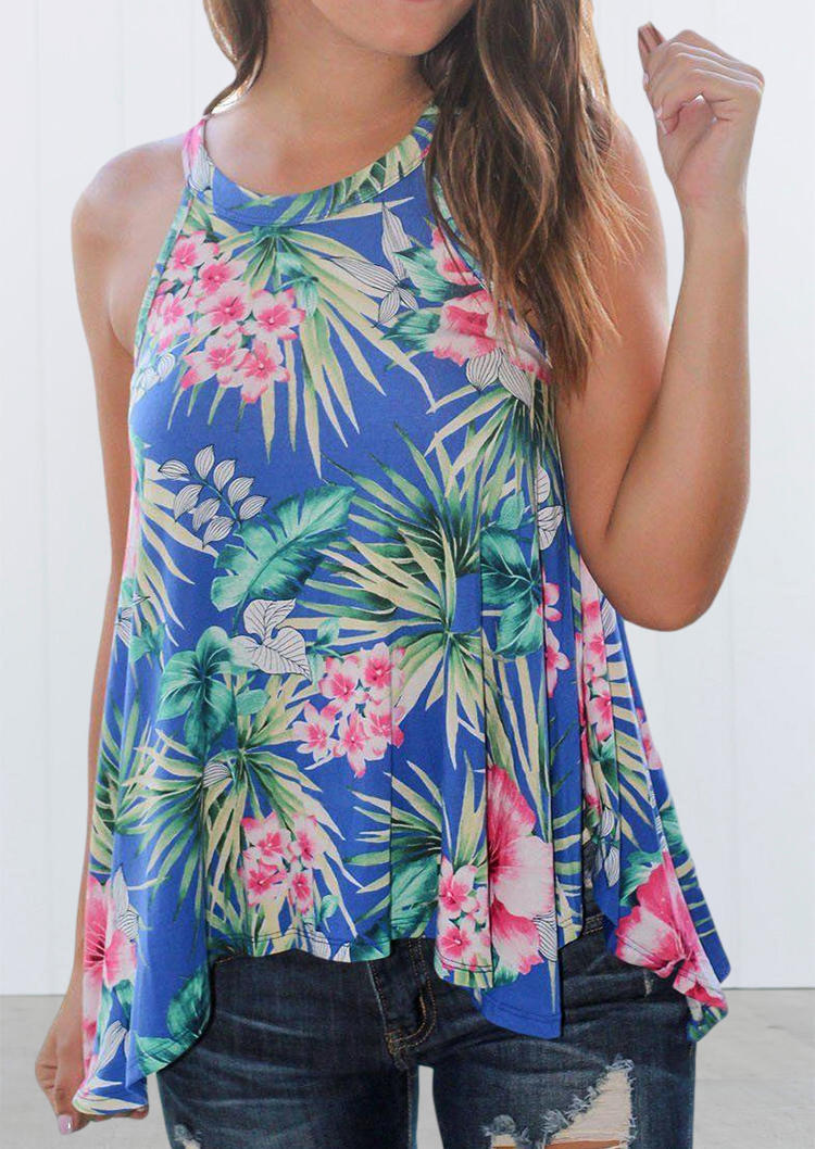 Floral Palm Leaf Sleeveless Halter Tank from Bellelily