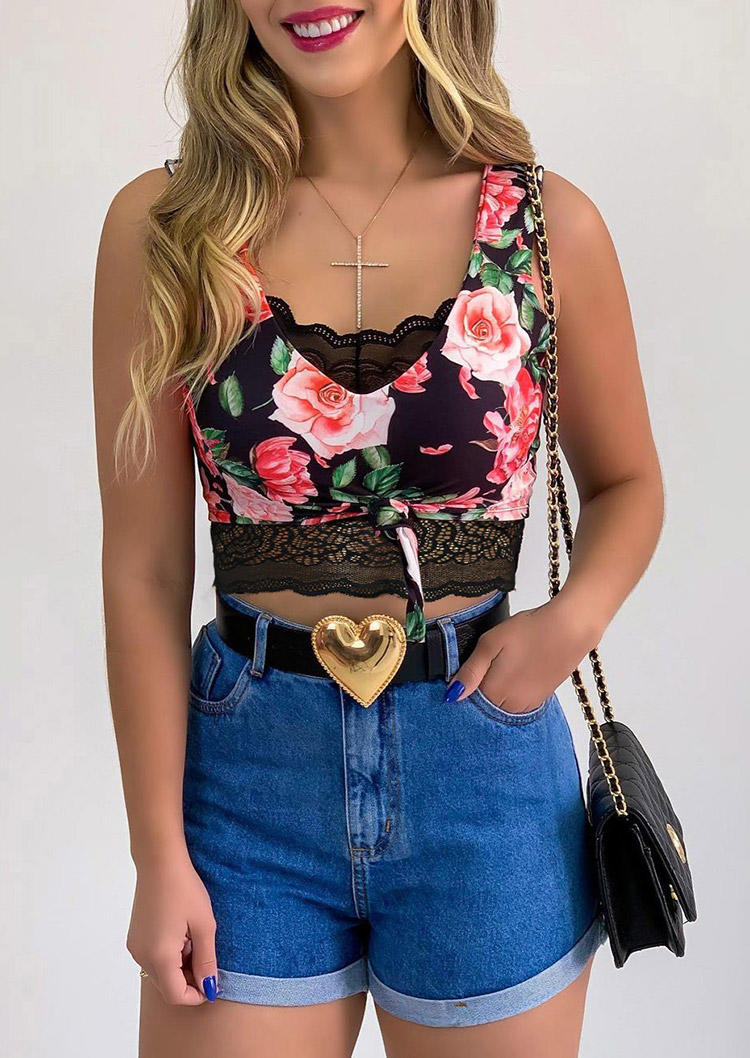 Floral Tie Lace Splicing Casual Crop Top from Bellelily