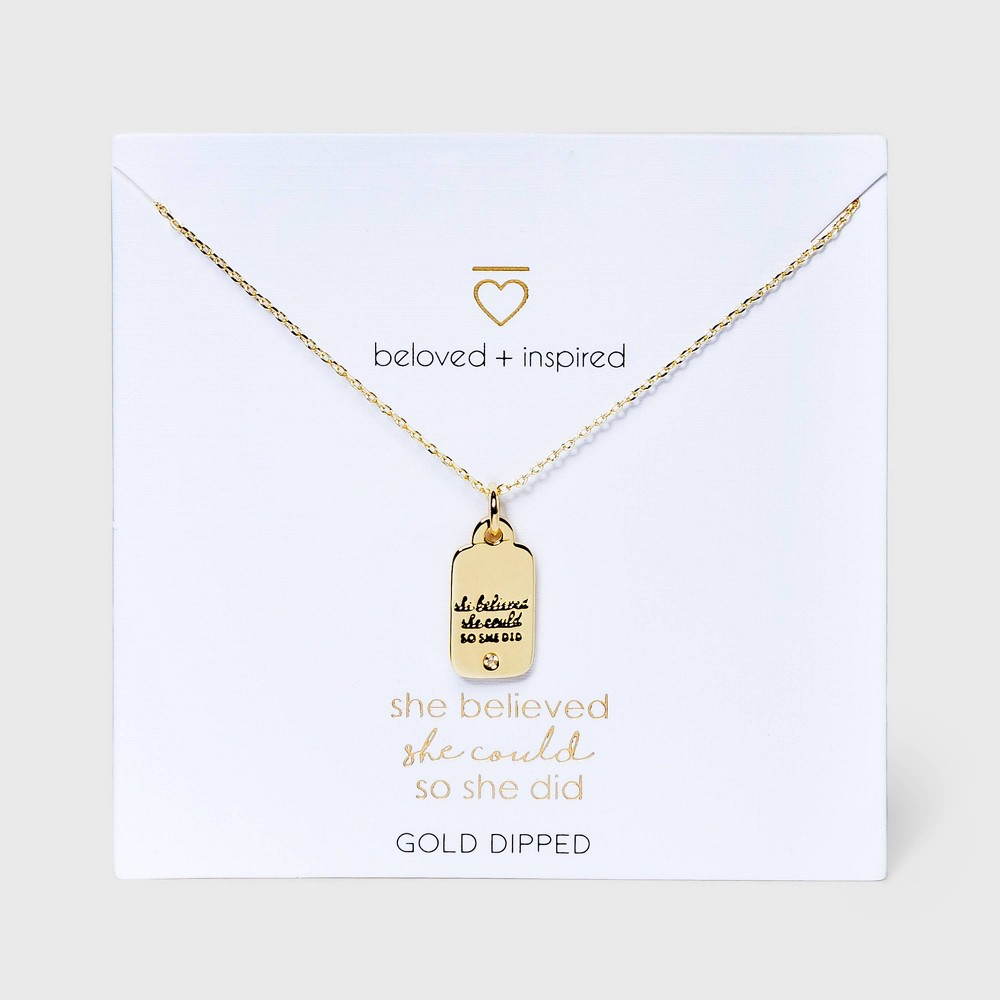 Beloved + Inspired Gold 'She Believed She Could So She Did' Tag Necklace - Gold from Beloved + Inspired