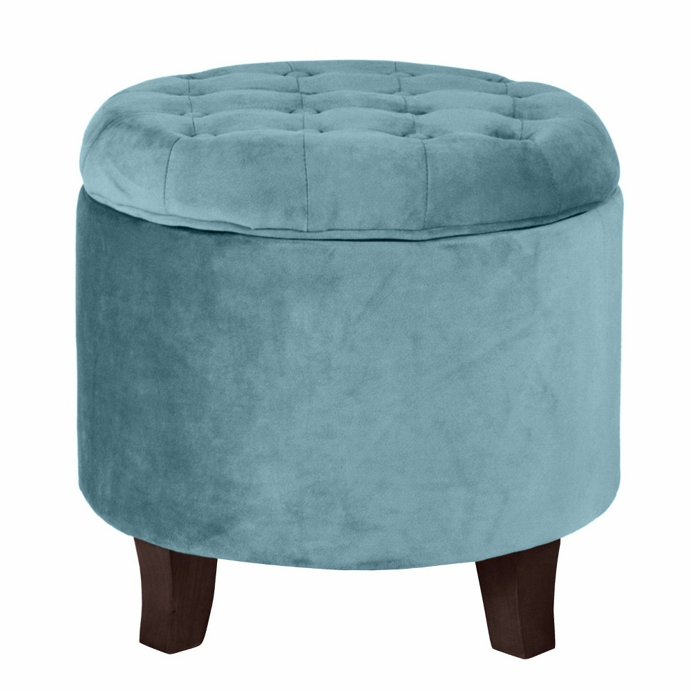 Button Tufted Velvet Upholstered Wooden with Hidden Storage Ottoman Blue/Brown - Benzara from Benzara