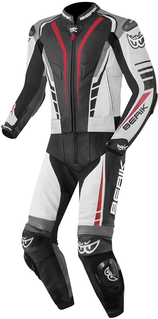 Berik XR-Ace Two Piece Motorcycle Leather Suit, black-grey-white-red, Size 56, black-grey-white-red, Size 56 from Berik