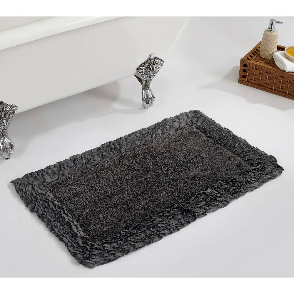 "21""x34"" Shaggy Border Collection Bath Rug Gray - Better Trends from Better Trends"