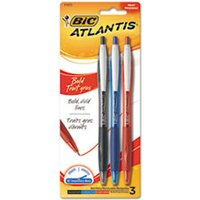 Atlantis Bold Retractable Ball Pen, Assorted Ink, 3/Pack from Bic