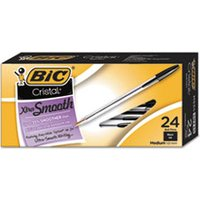 Cristal Xtra Smooth Ballpoint Stick Pen, Black Ink, 1mm, Medium, 24/Pack from Bic