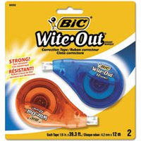 "Wite-Out EZ Correct Correction Tape, Non-Refillable, 1/6"" x 472"", 2/Pack from Bic"