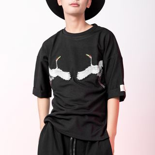 Crane Embroidered Elbow Sleeve T-Shirt from Bjorn