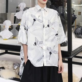 Cranes Print Elbow-Sleeve Shirt from Bjorn