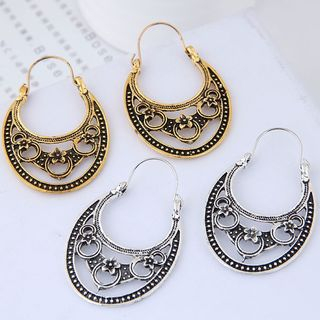 Alloy Retro Embossed Hoop Earring from Bling Thing