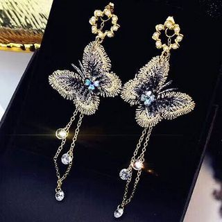 Alloy Rhinestone Butterfly Fringed Earring Gold - One Size from Bling Thing