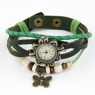 Faux Leather Layered Bracelet Watch from Bling Thing