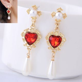 Faux Pearl Rhinestone Heart Drop Earring from Bling Thing