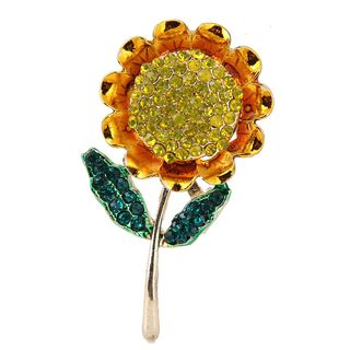 Rhinestone Sunflower Brooch Gold - One Size from Bling Thing